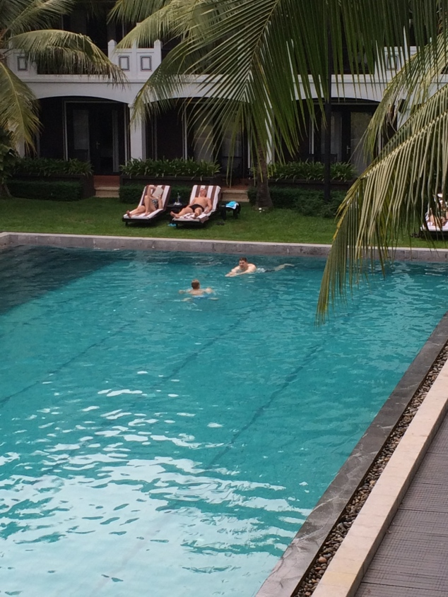 Bill and Bobby swimming in our hotel pool.